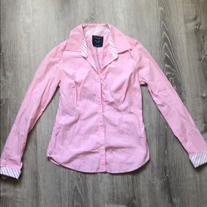 American eagle tailored pink button up shirt